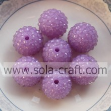 New Design 18*20MM Clear Resin Rhinestone Beads For DIY Kids Jewelry Light Purple