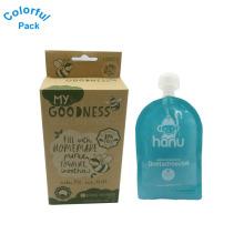 Sacos de sabor misto com escovas em caixa de papel kraft saco de bebida reutilizável ziplock com bico
