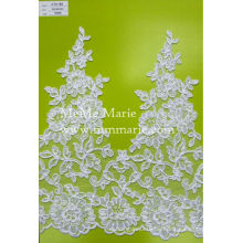 Schweizer Voile Lace Gewebe Weiß Guipure Spitze mit Blumen trimmen CTC189