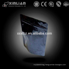 Black colored zip lock plastic packaging bag