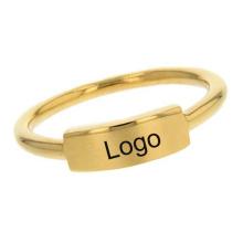 Minimalist Ring Stainless Steel 18k Gold Custom Nameplate Letter Engravable Bar Wedding Ring Gift