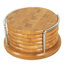 Bamboo insulated cup mat wooden pad set