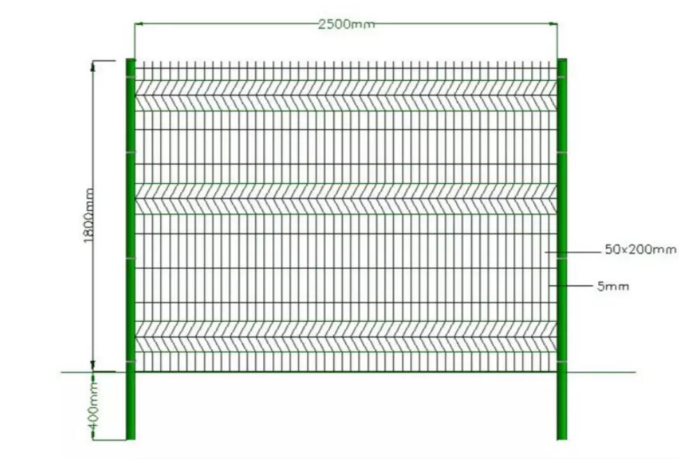 curvy welded wire mesh fence drawing