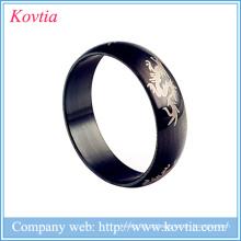 Alibaba homens italiano anel de titânio preto anéis de jóias dragão design anel de aço
