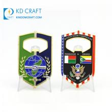 China manufacturer metal zinc alloy embossed logo country flag friendship enamel custom bottle opener coin