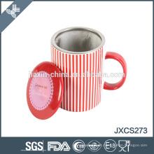 nova caneca de café com filtro de aço inoxidável canecas de cerâmica em branco