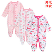 2017 China factory wholesale price winter baby romper organic cotton printed baby clothes romper newborn