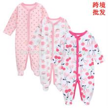 2017 China preço de fábrica por atacado inverno romper bebê algodão orgânico impresso roupas de bebê romper recém-nascido