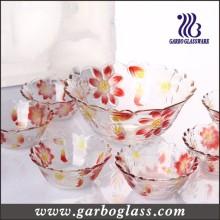 7PCS Colors Engraved Flowers Glass Bowl Set/Glassware Set