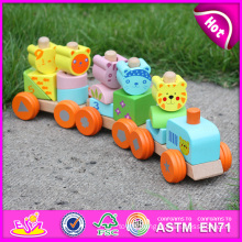 2015 Hot Sale Wooden Blocks Train Set Toys Animal Vehicles Toys, Cute Wooden Animal Blocks Train Toy, Pull Line Train Toy W04A066
