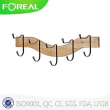 Wooden 5 Hooks Towel Clothes Hanging Wall Mounted Clasp