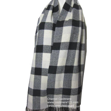 100% wool ivory black check scarf