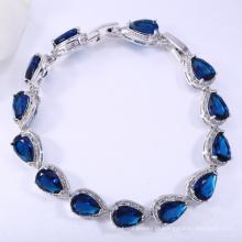Pulseira de gota de lágrima azul incomum de jóias