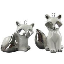 Ion Plating Ceramic Pendant, Porcelain Fox Gift Hang Decoration Accessory