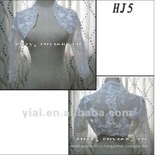 HJ5 Бесплатная доставка высокое качество на заказ красивая аппликация Пол-Длина рукав Белый Туллер Свадебные куртка