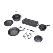 7-Piece Camping Cast Iron Cookware Set with Box