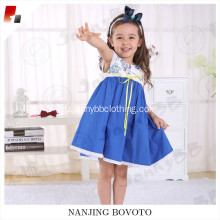 wholesale flower printed blue princess birthday dress