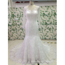Fit and Flare See Through Back Wedding Dress with Tulle Sleeve
