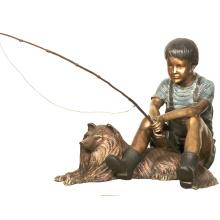 decoração do jardim tamanho da vida de pesca menino de bronze esculturas com estátua do cão