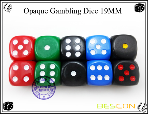 Opaque Gambling Dice 19MM