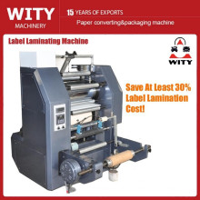 Roll to roll type thermal laminating machine for narrow web labels