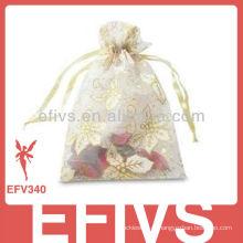 Branco impresso Jeweled Organza sacos com cordão