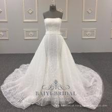 Sexy atacado alibaba elegante strapless a linha de vestido de noiva mais recente vestidos de novia