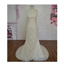 Beach two type 3D lace illusion style beach backless no sleeve wedding dress