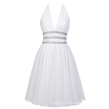 Starzz Deep V-Neck Halter Chiffon Backless Simple Short White Wedding Bridesmaid Dresses ST000088-1