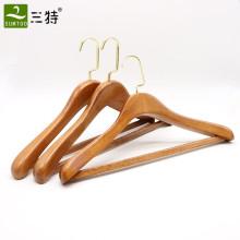 gancho de revestimento luxuoso de alta qualidade do vestuário do hotel da madeira de faia da fábrica