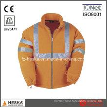 High Visibility Safety Wear Men Winter Hivis Fleece Jacket En20471