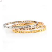 Hollow Out Roman Number Numerals Crystal 316L Stainless Steel Jewelry Cuff Bangle Bracelet