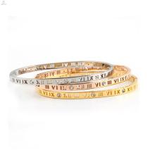 Oco Out numerais romanos de cristal de aço inoxidável 316L jóias Cuff Bangle Bracelet