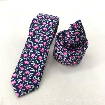 Latest Slim Wholesale Mens Cotton Floral Navy Improt Tie