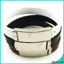 Pulseira de couro clássico com jóias de design de fivela (lb16041946)