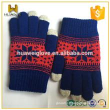 100% acrylique octagon jacquard Kids Gants en tricot d'hiver avec doigts