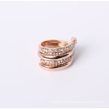 Double Fashion Ring One with Rhinestone One Smooth All Rose Gold Plated