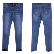 Mulheres Denim Reta Rasgado Jean Calças Calças Skinny Jeans