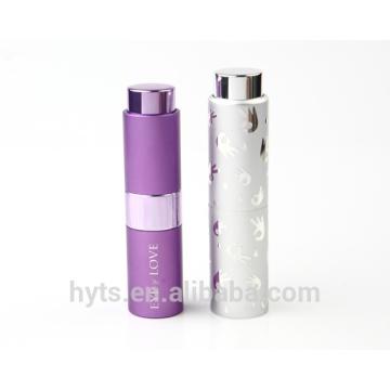 Atomiseur rechargeable de parfum de torsion d'aluminium de nouveau style de 8ml