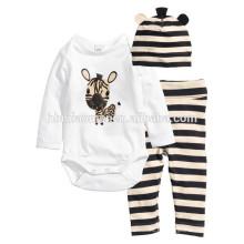 2016 manches longues 100% coton animal imprimé dessin animé bébé vêtements barboteuse