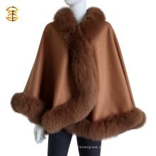 Cachemira de lujo de alta calidad de la señora y piel de pelaje de piel de zorro