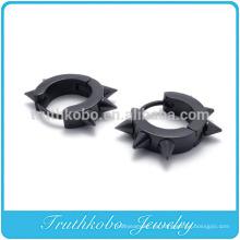 TKB-E0003 Bling para hombre acero inoxidable quirúrgico aro remache Stud Earring negro