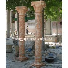Columna de mármol de la escultura de la piedra roja de la puesta del sol (SY-C018)