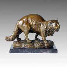 Tier Bronze Skulptur Katze Dekoration Handwerk Messing Statue Tpal-126