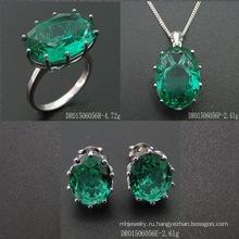 Single Stone Fashion Green Spinel Jewellery Set