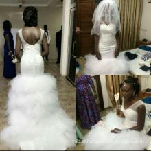 2017 Elegante Mermaid Beaded Lace Lace Open Back Wedding Dress Vestido