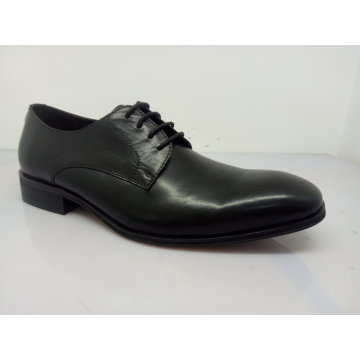 Zapatos de cuero clásicos de encaje para hombre negro (NX 545)