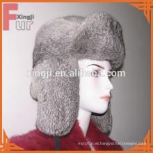 sombrero de conejo de piel de chinchilla color gris natural
