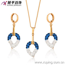 62743 Xuping colorful fashion delicate pendant, new design charm gold plated jewelry sets