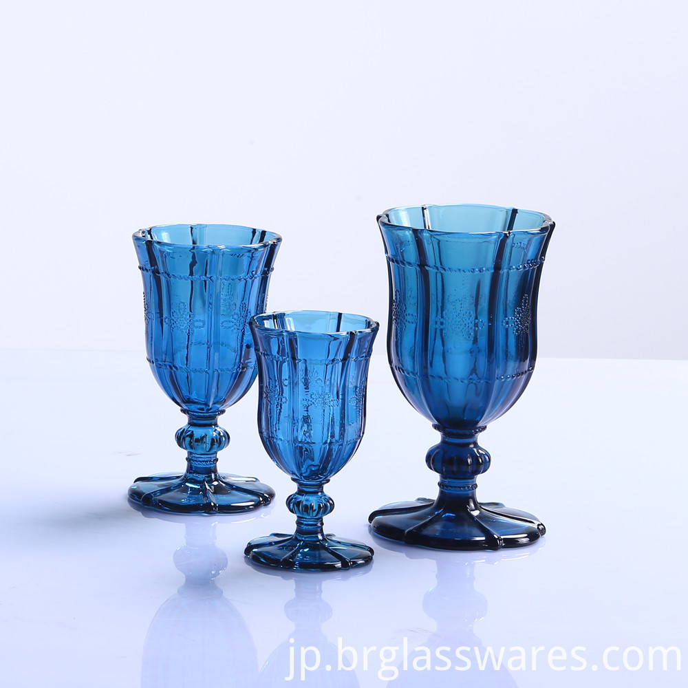 dark blue glass goblet